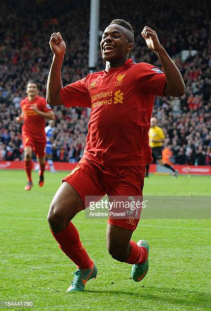 Raheem Sterling of Liverpool celebrates his goal during the Barclays Premier League match between Liverpool and Reading at Anfield on October 20 2012...