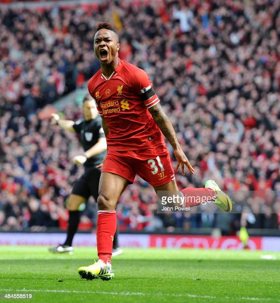 Raheem Sterling of Liverpool celebrates his goal during the Barclays Premier Leuage match between Liverpool and Manchester City at Anfield on April...