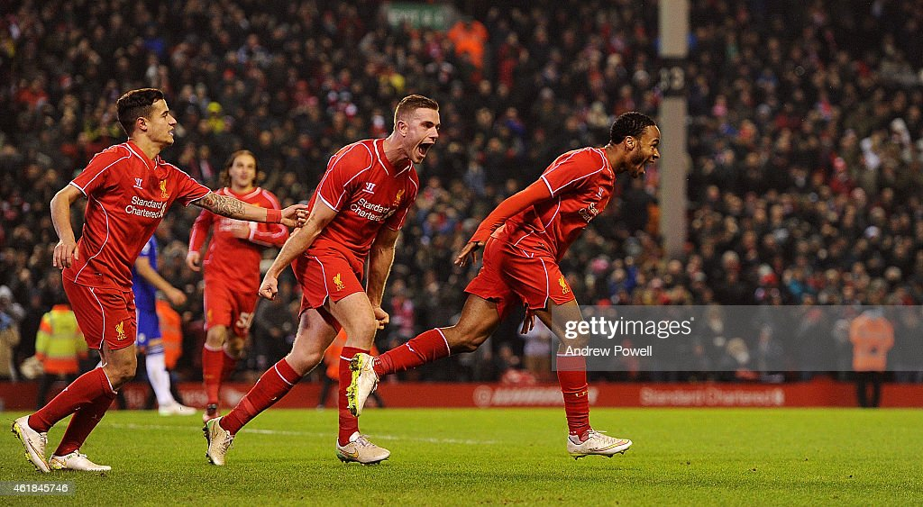 Raheem Sterling of Liverpool celebrates his goal during the Capital One Cup Semi-Final First Leg between Liverpool and Chelsea at Anfield on January 20, 2015 in Liverpool, England.
