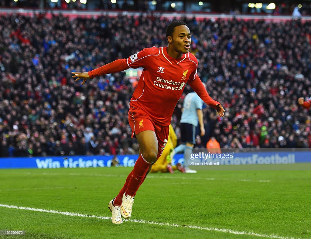 Raheem Sterling of Liverpool celebrates scoring the opening goal during the Barclays Premier League match between Liverpool and West Ham United at Anfield on January 31, 2015 in Liverpool, England.