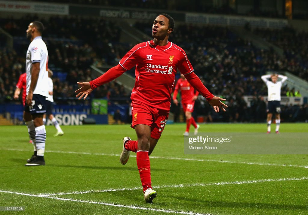 Raheem Sterling of Liverpool celebrates scoring their first goal during the FA Cup Fourth round replay between Bolton Wanderers and Liverpool at Macron Stadium on February 4, 2015 in Bolton, England.