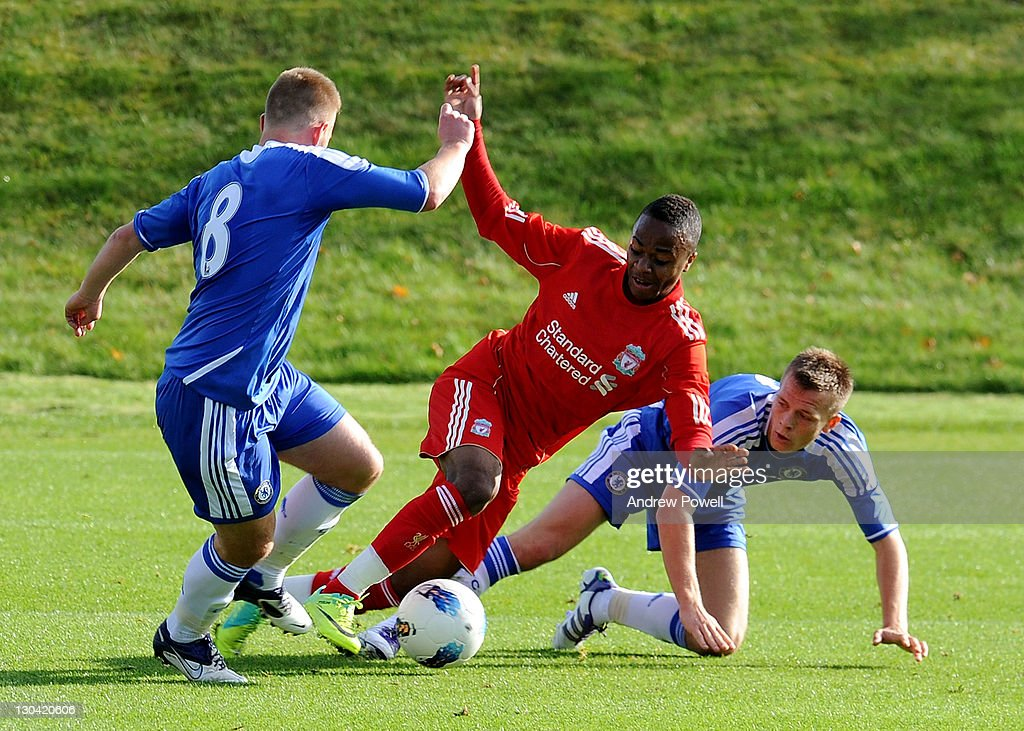 Raheem Sterling of Liverpool competes with Conor Clifford of Chelsea during the Barclays Premier Reserve League match between Liverpool Reserves and Chelsea Reserves on October 26, 2011 in Liverpool, England.