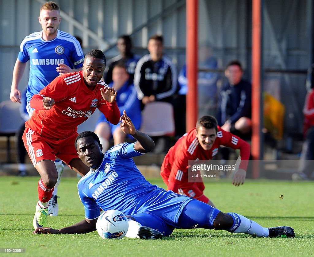 Raheem Sterling of Liverpool competes with Danny Pappoe of Chelsea during the Barclays Premier Reserve League match between Liverpool Reserves and Chelsea Reserves on October 26, 2011 in Liverpool, England.