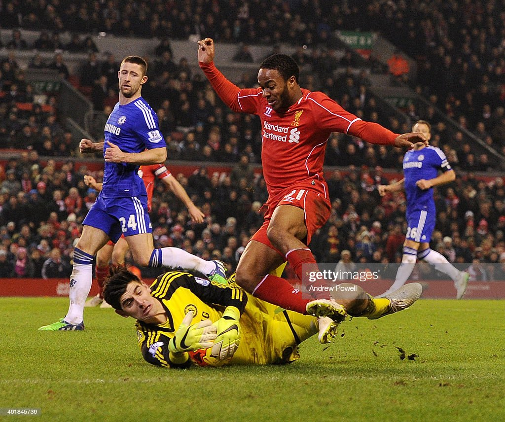 Raheem Sterling of Liverpool competes with Thibaut Courtois of Chelsea during the Capital One Cup Semi-Final First Leg between Liverpool and Chelsea at Anfield on January 20, 2015 in Liverpool, England.