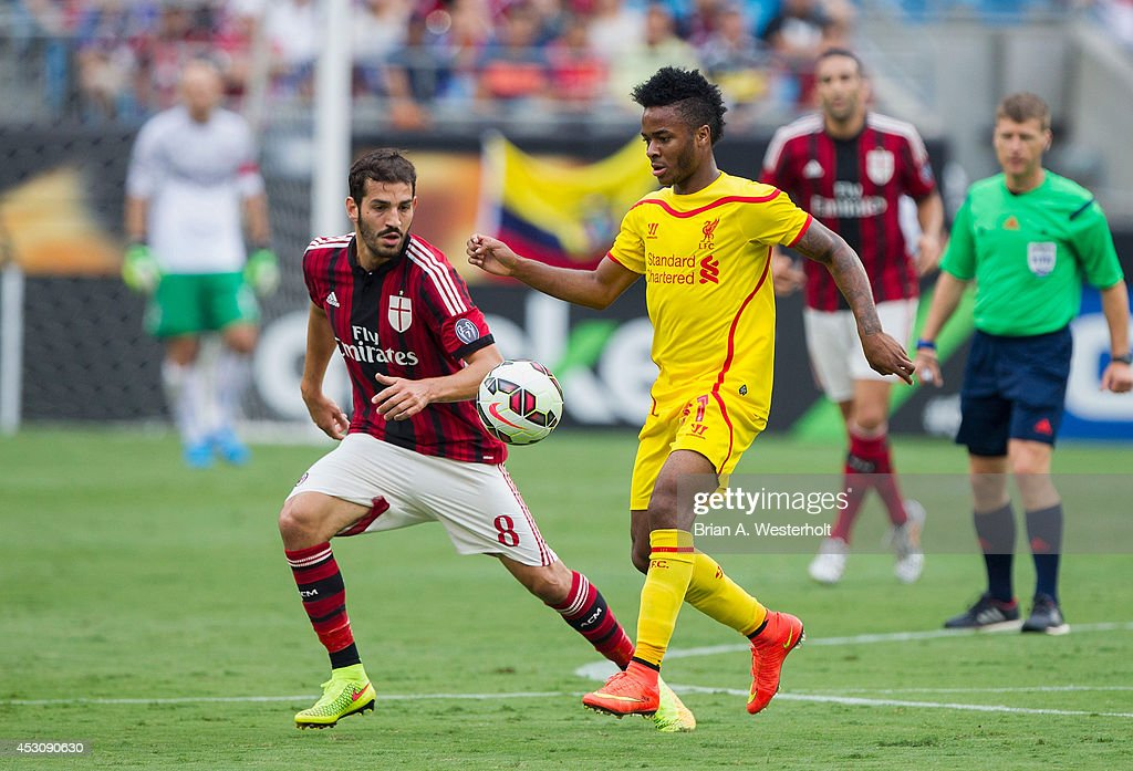 Raheem Sterling #31 of Liverpool controls the ball in front of Riccardo Saponara #8 of A.C. Milan during first half action in the Guinness International Champions Cup at Bank of America Stadium on August 2, 2014 in Charlotte, North Carolina. Liverpool defeated A.C. Milan 2-0.