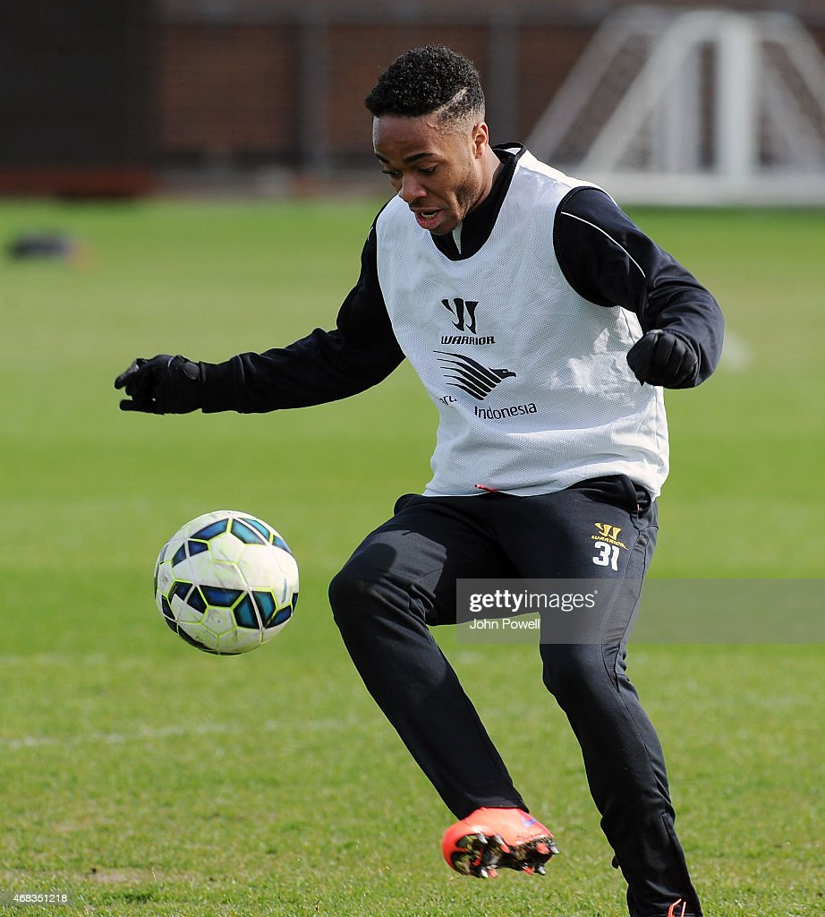 Raheem Sterling of Liverpool during a training session at Melwood Training Ground on April 2, 2015 in Liverpool, England.