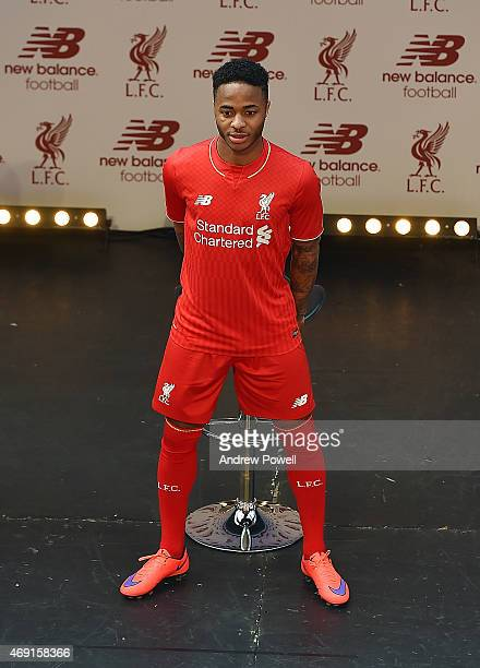 Raheem Sterling of Liverpool during the kit launch at Anfield on April 10 2015 in Liverpool England