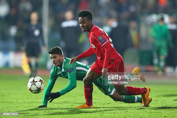 Raheem Sterling of Liverpool escapes the attentions of Junior Caicaara of Ludogorets during the UEFA Champions League Group B match between...