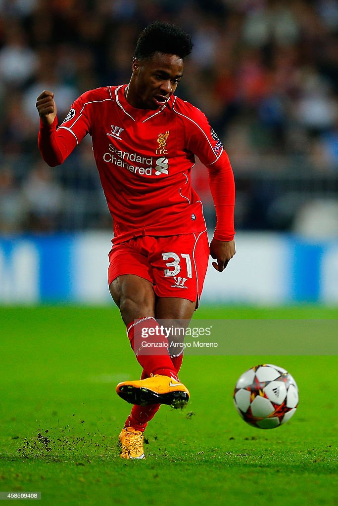 Raheem Sterling of Liverpool FC controls the ball during the UEFA Champions League Group B match between Real Madrid CF and Liverpool FC at Estadio Santiago Bernabeu on November 4, 2014 in Madrid, Spain.