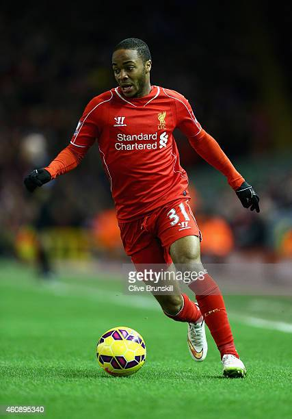 Raheem Sterling of Liverpool in action during the Barclays Premier League match between Liverpool and Swansea City at Anfield on December 29 2014 in...