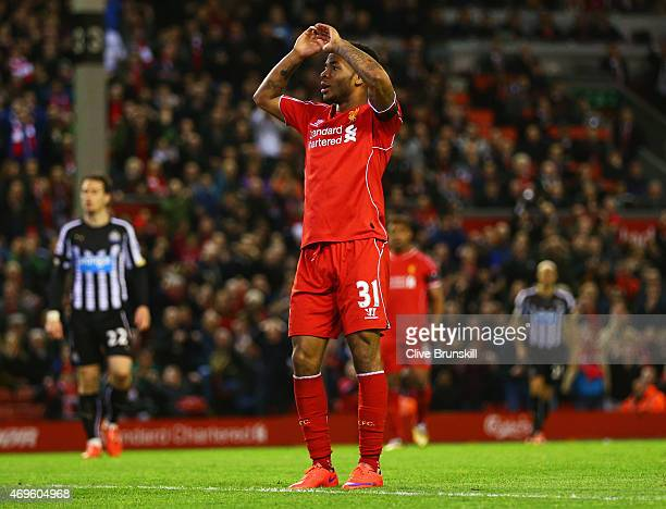 Raheem Sterling of Liverpool reacts after a missed chance during the Barclays Premier League match between Liverpool and Newcastle United at Anfield...