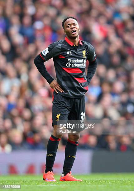 Raheem Sterling of Liverpool reacts after a missed opportunity during the Barclays Premier League match between Arsenal and Liverpool at Emirates...