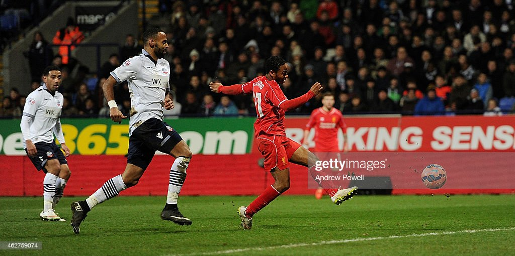 Raheem Sterling of Liverpool scores during the FA Cup Fourth Round Replay match between Bolton Wanderers and Liverpool at Macron Stadium on February 4, 2015 in Bolton, England.