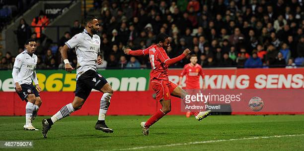 Raheem Sterling of Liverpool scores during the FA Cup Fourth Round Replay match between Bolton Wanderers and Liverpool at Macron Stadium on February...