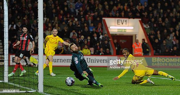 Raheem Sterling of Liverpool scores the opening goal during the Capital One Cup Quarter-Final match between Bournemouth and Liverpool at Goldsands...