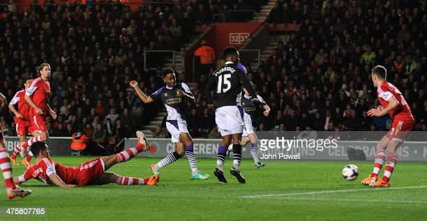 Raheem Sterling of Liverpool scores the second during the Barclays Premier Leauge match between Southampton and Liverpool at St Mary's Stadium on...