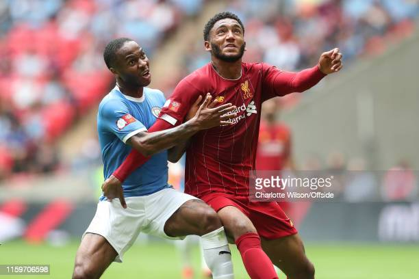 Raheem Sterling of Man City and Joe Gomez of Liverpool during the FA Community Shield between Liverpool and Manchester City at Wembley Stadium on...