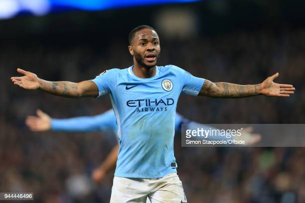 Raheem Sterling of Man City appeals during the UEFA Champions League Quarter Final Second Leg match between Manchester City and Liverpool at the...