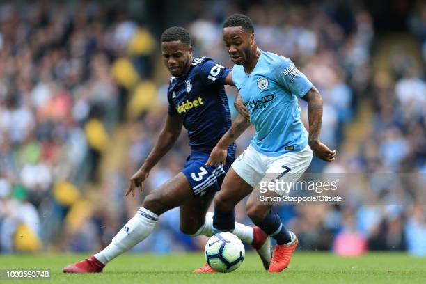 Raheem Sterling of Man City battles with Ryan Sessegnon of Fulham during the Premier League match between Manchester City and Fulham at the Etihad...