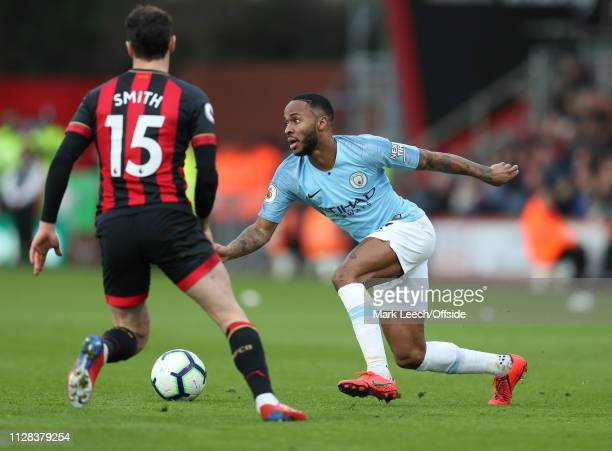 Raheem Sterling of Man City during the Premier League match between AFC Bournemouth and Manchester City at Vitality Stadium on March 2, 2019 in...