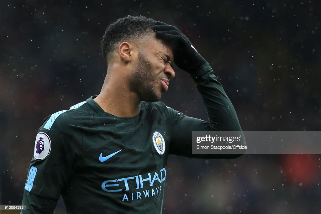 Raheem Sterling of Man City looks dejected during the Premier League match between Burnley and Manchester City at Turf Moor on February 3, 2018 in Burnley, England.