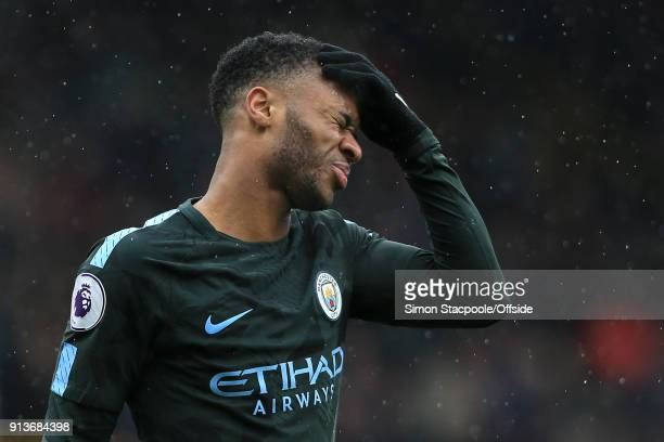 Raheem Sterling of Man City looks dejected during the Premier League match between Burnley and Manchester City at Turf Moor on February 3 2018 in...