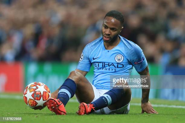 Raheem Sterling of Man City looks dejected during the UEFA Champions League Quarter Final second leg match between Manchester City and Tottenham...