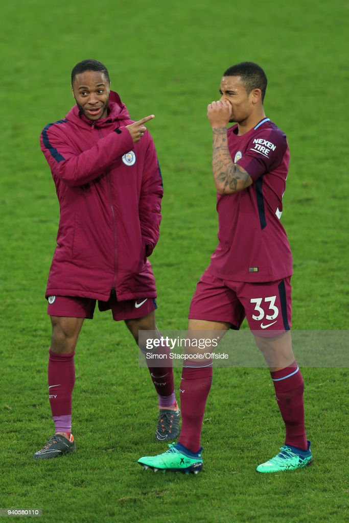 Raheem Sterling of Man City points at teammate Gabriel Jesus of Man City after the Premier League match between Everton and Manchester City at Goodison Park on March 31, 2018 in Liverpool, England.