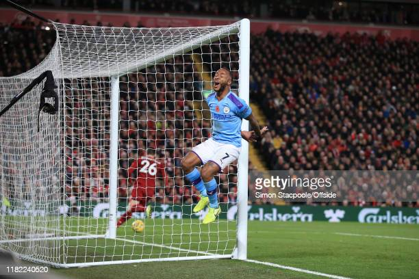 Raheem Sterling of Man City reacts with frustration during the Premier League match between Liverpool FC and Manchester City at Anfield on November...