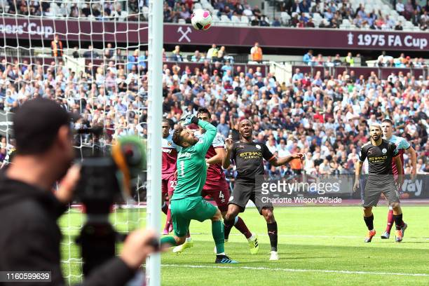 Raheem Sterling of Man City scores their 3rd goal during the Premier League match between West Ham United and Manchester City at London Stadium on...