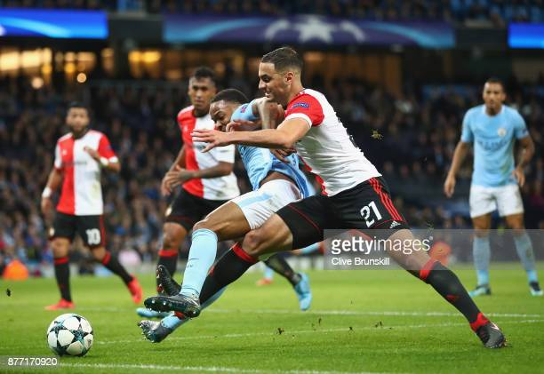 Raheem Sterling of Manchester City and Sofyan Amrabat of Feyenoord in action during the UEFA Champions League group F match between Manchester City...