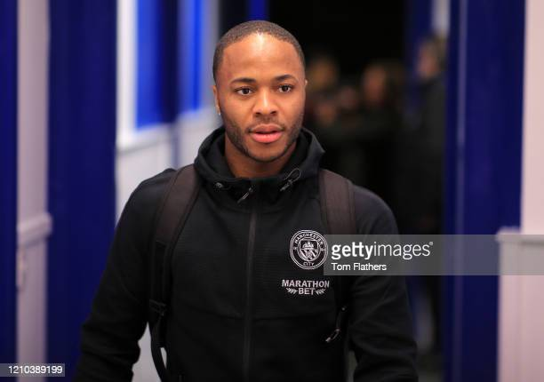 Raheem Sterling of Manchester City arrives at the stadium prior to the FA Cup Fifth Round match between Sheffield Wednesday and Manchester City at...