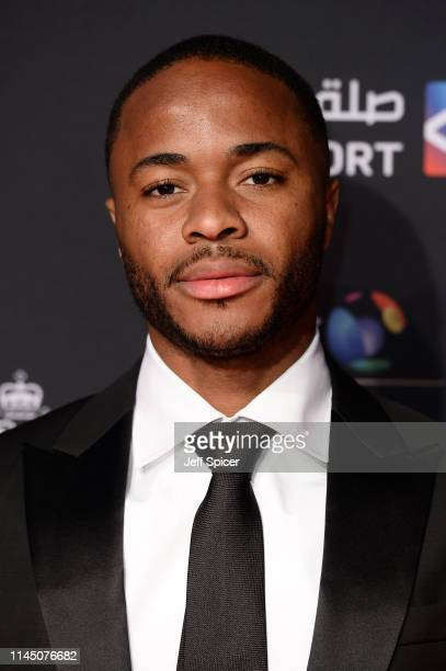 Raheem Sterling of Manchester City arrives on the red carpet ahead of the BT Sport Industry Awards 2019 at Battersea Evolution on April 25 2019 in...