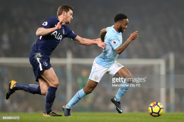 Raheem Sterling of Manchester City attempts to get awy from Jan Vertonghen of Tottenham Hotspur during the Premier League match between Manchester...