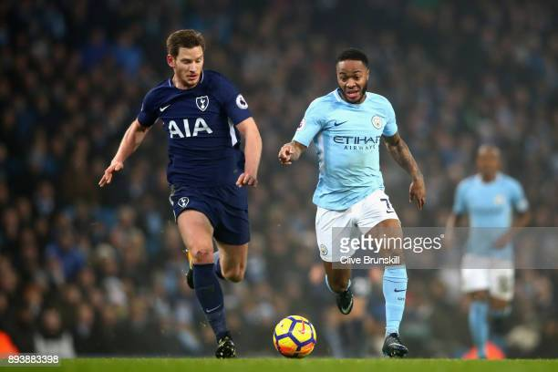 Raheem Sterling of Manchester City battles for possesion with Jan Vertonghen of Tottenham Hotspur during the Premier League match between Manchester...