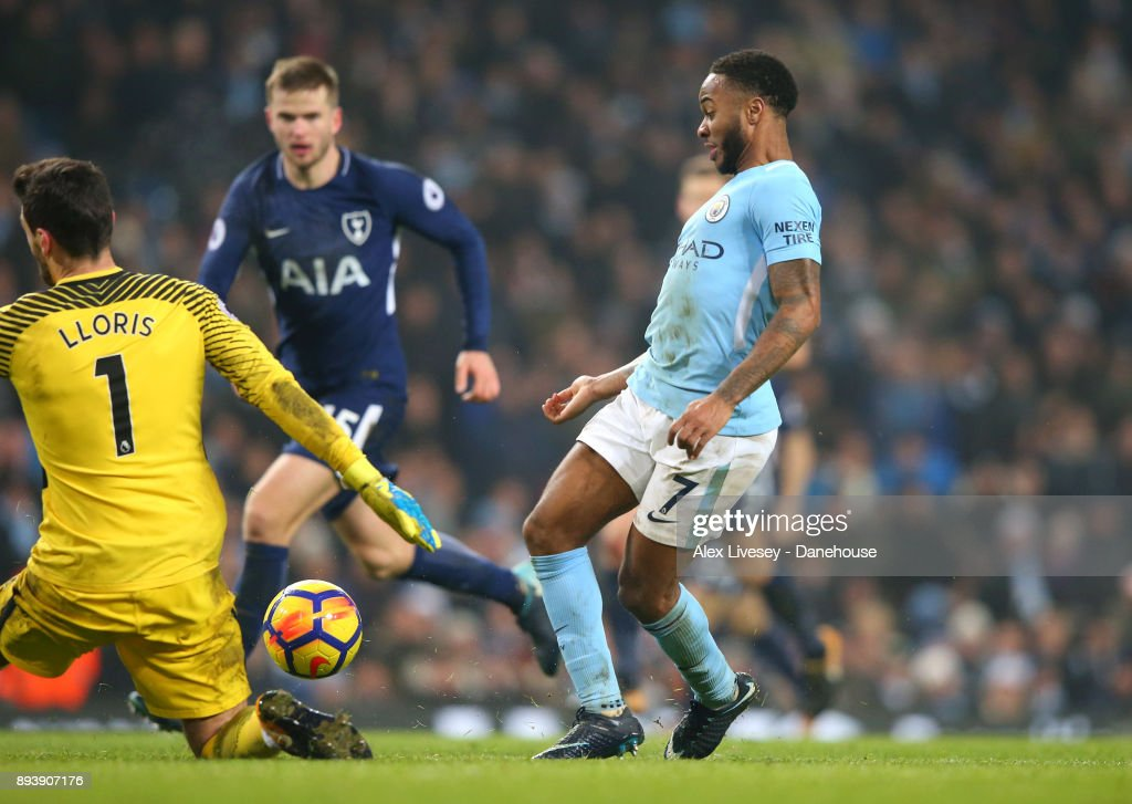 Raheem Sterling of Manchester City beats Hugo Lloris of Tottenham Hotspur to score the fourth goal during the Premier League match between Manchester City and Tottenham Hotspur at Etihad Stadium on December 16, 2017 in Manchester, England.