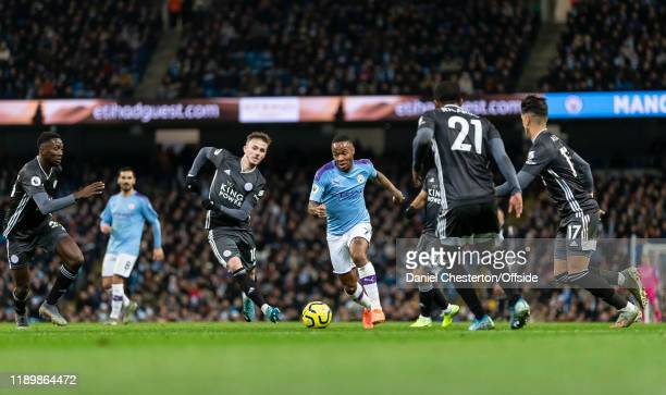 Raheem Sterling of Manchester City breaks through the Leicester defence during the Premier League match between Manchester City and Leicester City at...