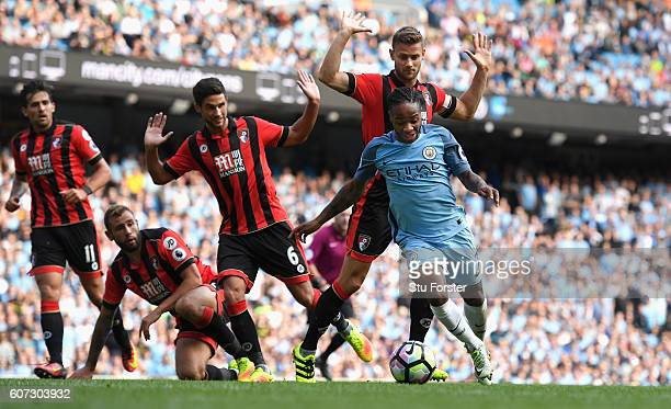 Raheem Sterling of Manchester City burst through the AFC Bournemouth defence during the Premier League match between Manchester City and AFC...