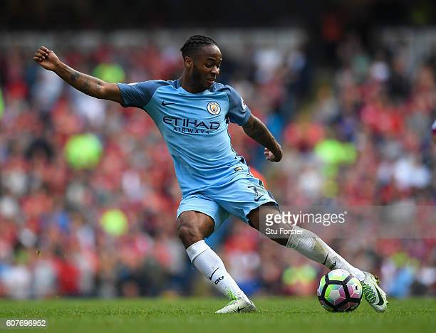 Raheem Sterling of Manchester City bursts through the AFC Bournemouth defence during the Premier League match between Manchester City and AFC...