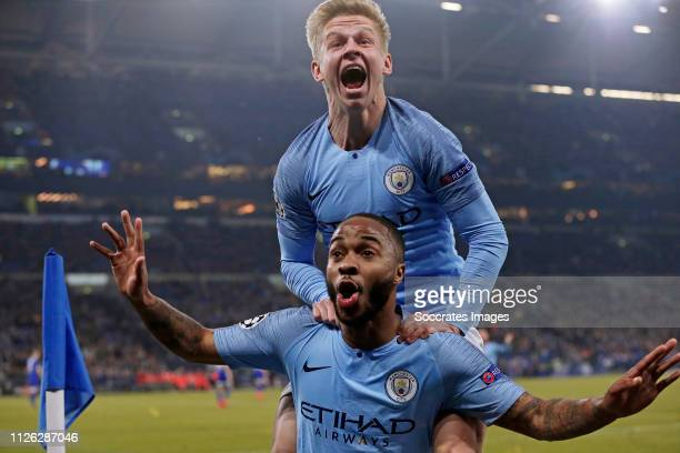 Raheem Sterling of Manchester City celebrates 23 with Oleksandr Zinchenko of Manchester City during the UEFA Champions League match between Schalke...