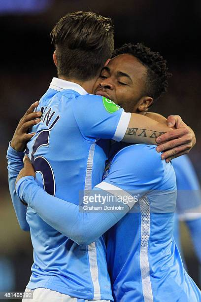 Raheem Sterling of Manchester City celebrates a goal during the International Champions Cup match between Manchester City and AS Roma at Melbourne...