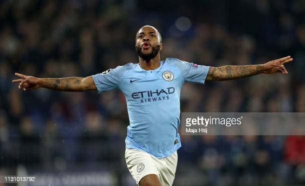 Raheem Sterling of Manchester City celebrates after he scores his team's 3rd goal during the UEFA Champions League Round of 16 First Leg match...