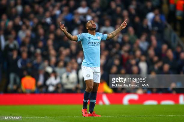 Raheem Sterling of Manchester City celebrates after scoring a goal to make it 10 during the UEFA Champions League Quarter Final second leg match...