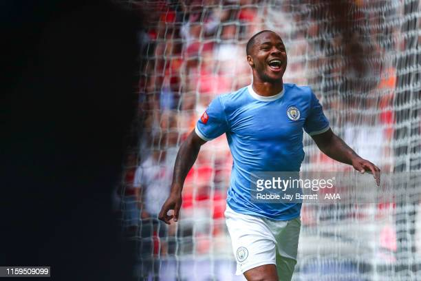 Raheem Sterling of Manchester City celebrates after scoring a goal to make it 01 during the FA Community Shield fixture between Liverpool and...
