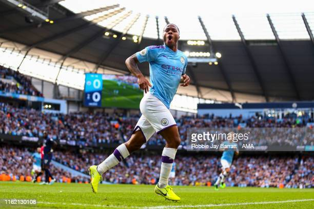 Raheem Sterling of Manchester City celebrates after scoring a goal to make it 10 during the Premier League match between Manchester City and...