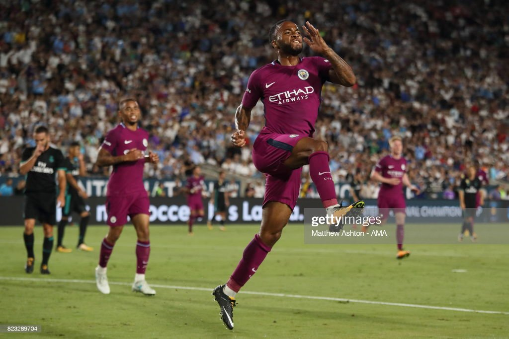 Raheem Sterling of Manchester City celebrates after scoring a goal to make it 2-0 during the International Champions Cup 2017 match between Manchester City and Real Madrid at Los Angeles Memorial Coliseum on July 26, 2017 in Los Angeles, California.