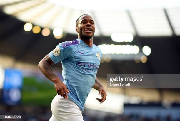 Raheem Sterling of Manchester City celebrates after scoring during the Premier League match between Manchester City and Tottenham Hotspur at Etihad...
