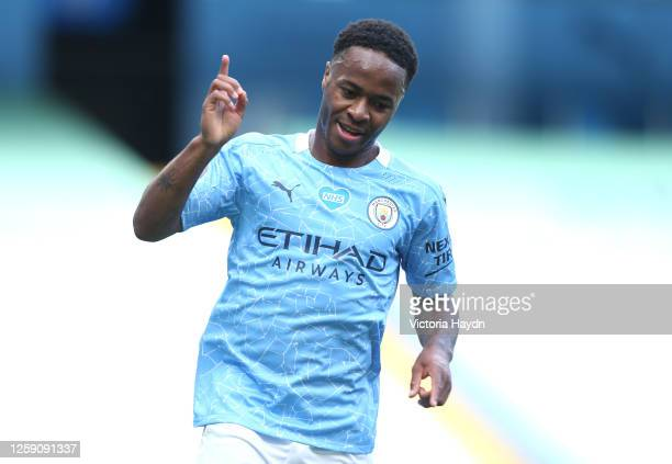 Raheem Sterling of Manchester City celebrates after scoring his sides third goal during the Premier League match between Manchester City and Norwich...
