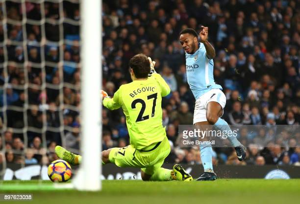 Raheem Sterling of Manchester City celebrates after scoring his sides second goal past Asmir Begovic of AFC Bournemouth during the Premier League...