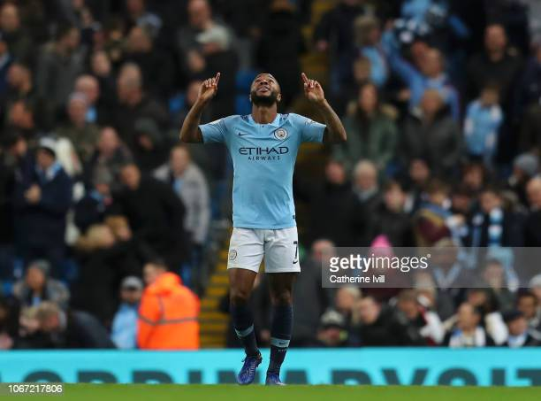 Raheem Sterling of Manchester City celebrates after scoring his team's second goal during the Premier League match between Manchester City and AFC...